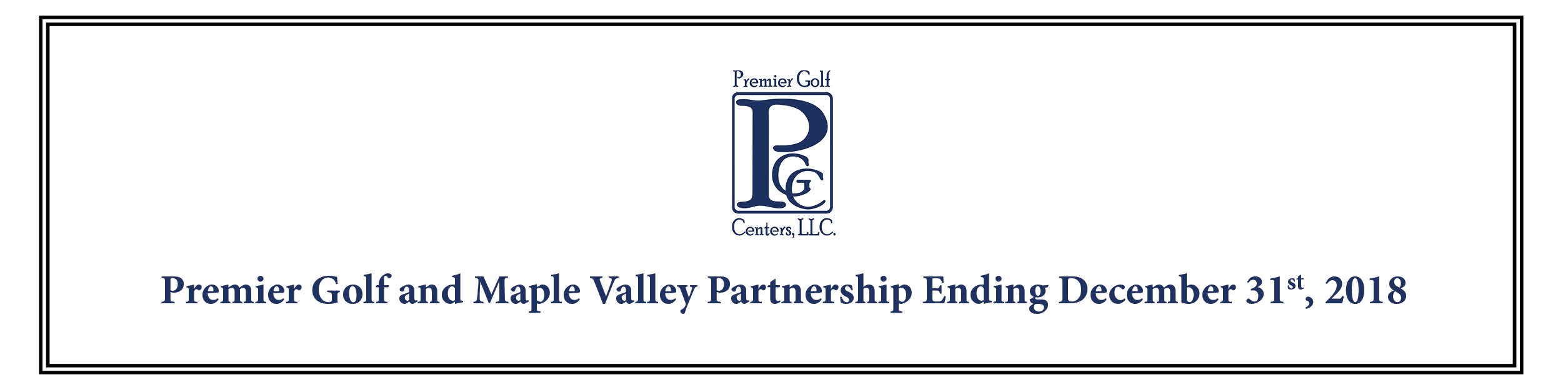 Premier Golf Centers - MV Partnership Ending